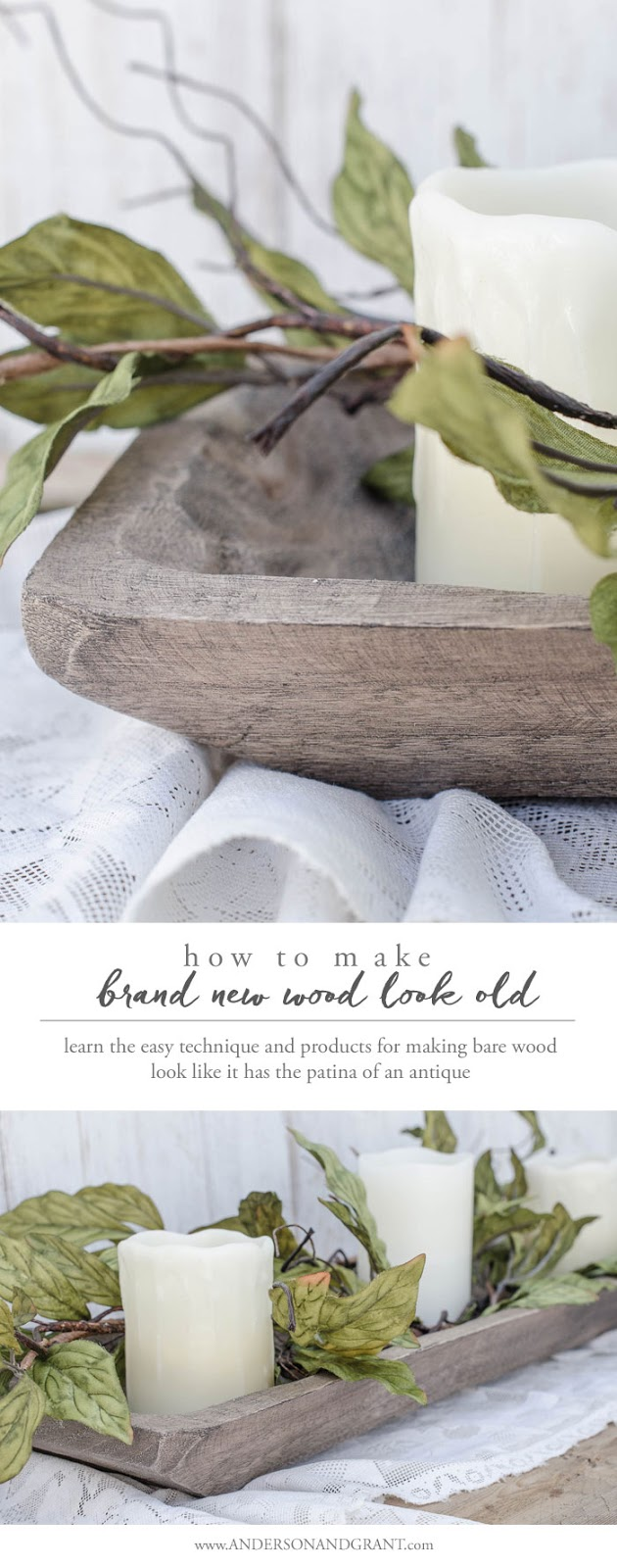 This brand new dough bowl from Hobby Lobby got an easy aging treatment to look old and rustic.  Click for the tutorial #DIY #furniturepainting #wood #doughbowl #andersonandgrant