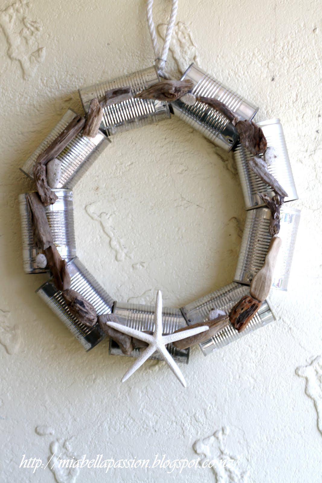 The Beachy Tin Can Wreath: