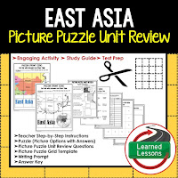 East Asia, World Geography Picture Puzzle BUNDLE, Test Prep, Unit Review, Study Guide