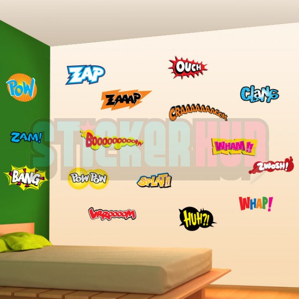 Comic Book word decals