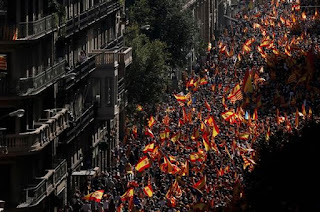 Catalonian Secession Spurs Giant protests in Barcelona.