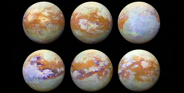 These six infrared images of Saturn's moon Titan represent some of the clearest, most seamless-looking global views of the icy moon's surface produced so far. Credit: NASA/JPL-Caltech/Stéphane Le Mouélic, University of Nantes, Virginia Pasek, University of Arizona