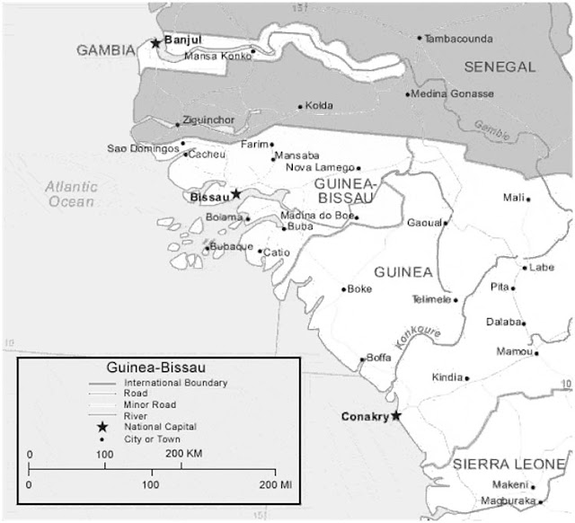 image: Black and white Guinea Bissau Map