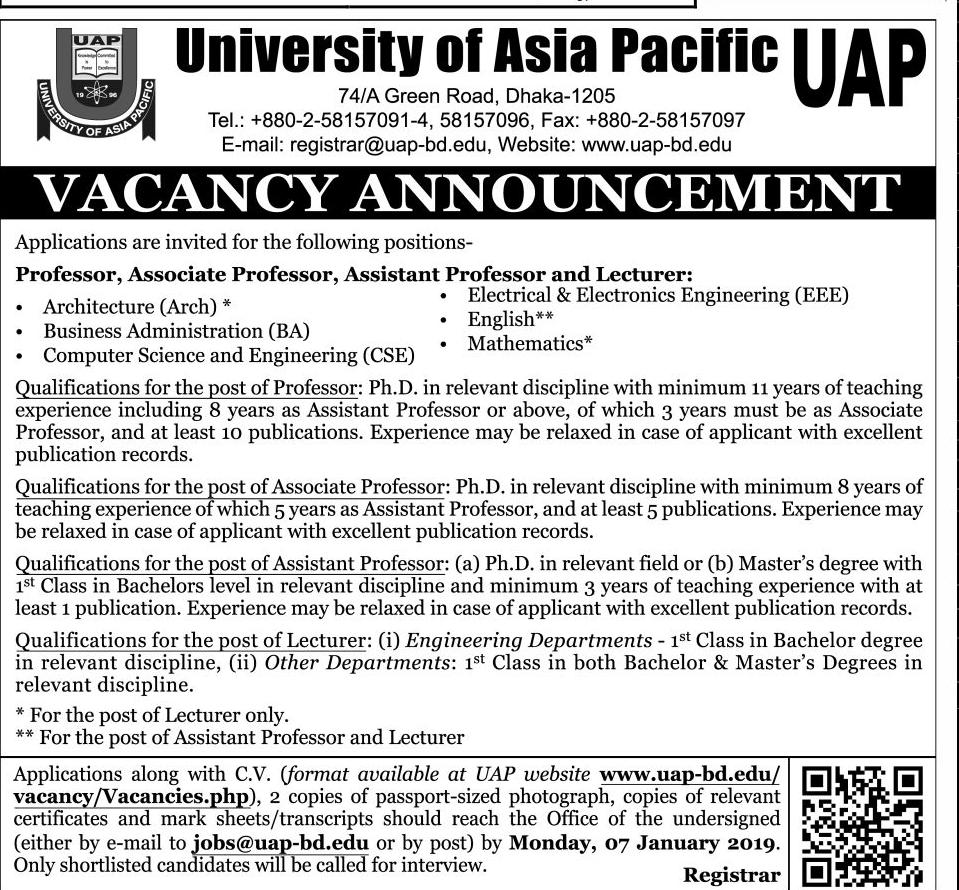 University of Asia Pacific (UAP) Job Circular 2018