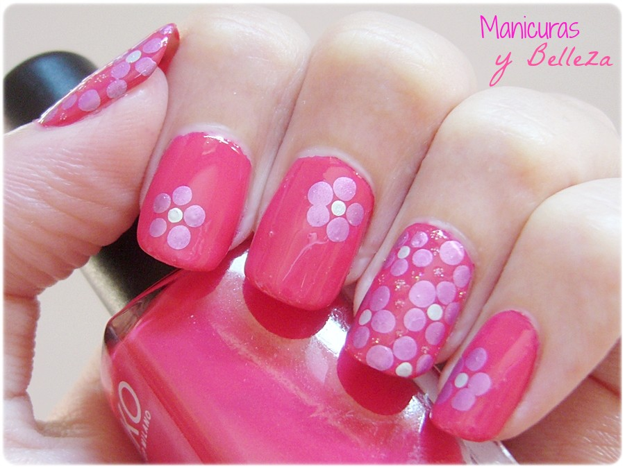 Manicuras Y Belleza Usaloya Nail Art De Flores Facil Con Puntos