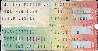 Twisted Sister ticket stub from the Palladium January 3, 1981