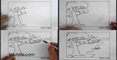 Cara menggambar pohon step by step