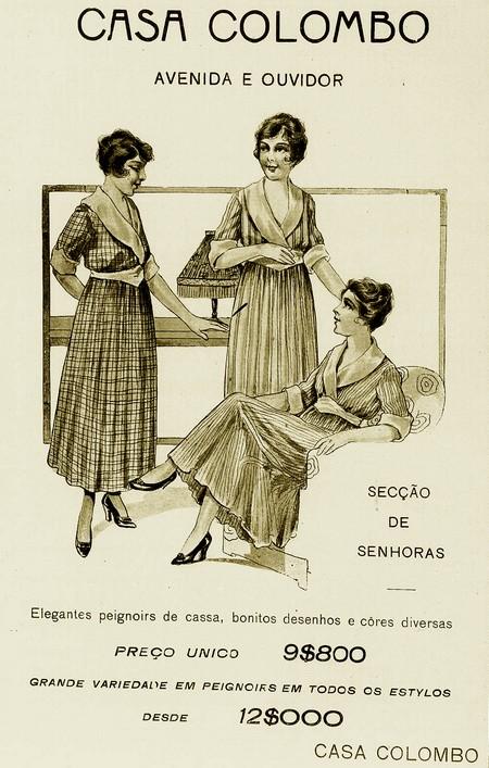 Propaganda da Casa Colombo em 1918 com promoção à moda para senhoras