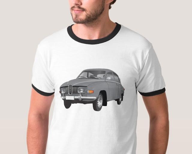 saab 96 classic gray t-shirt