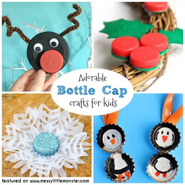 Bottle cap crafts for kids.  A collection of fun bottle top ideas for toddlers, preschoolers and older kids to make from bottle tops. Bottle cap DIY Christmas ornaments. Bottle cap rudolf, bottle cap holly, bottle cap snowflake, bottle cap penguin and lots more.
