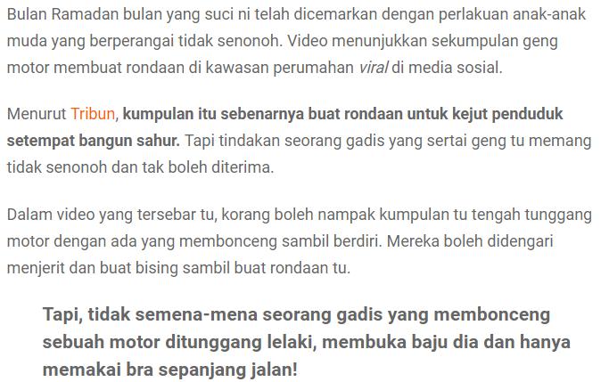 """""""B*doh Piang...""""-Ikut Geng Mat Motor Kejut Sahur, Gadis Tayang BR4 Sepanjang Jalan 3"""