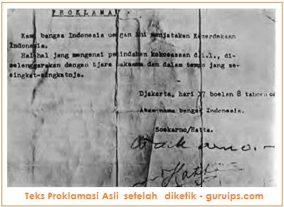 gambar teks proklamasi setelah diketik - autentik