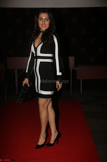 Ananya Soni in a Deep neck white blackl Dress at Shamanthakamani pre release function ~  Exclusive 067.JPG