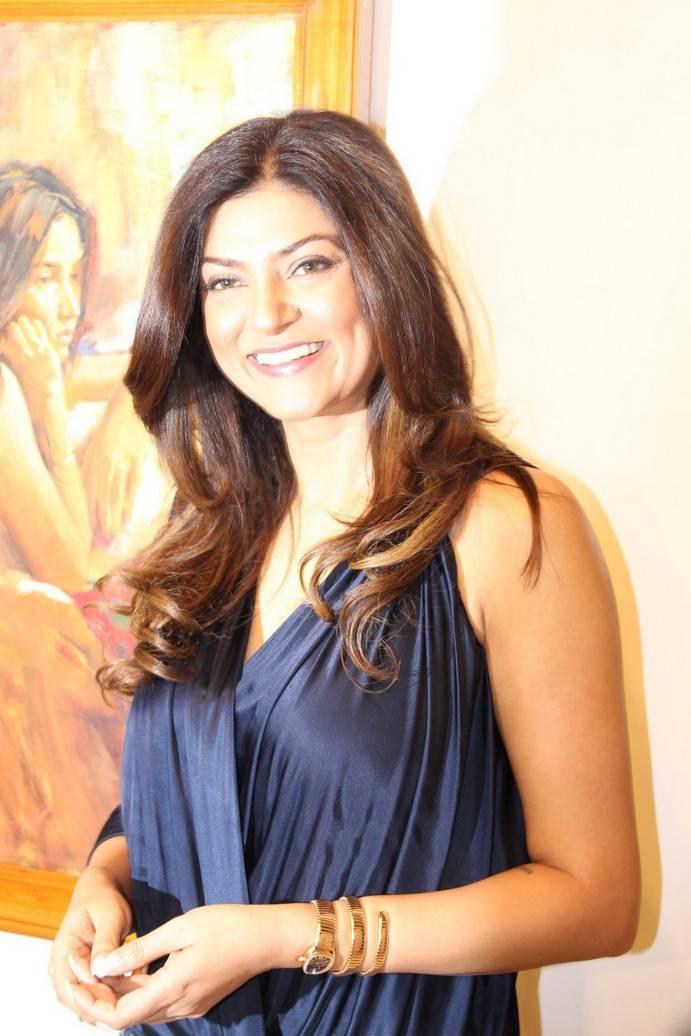Sushmita Sen In Blue Dress At Art Show Inauguration