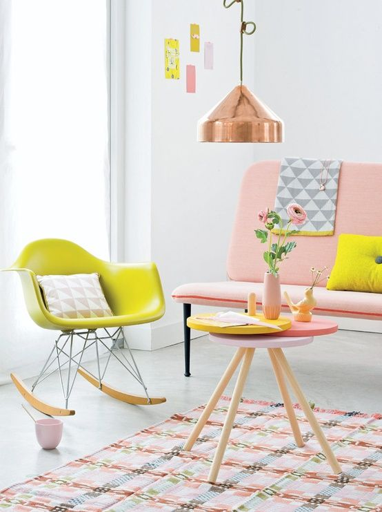 Finest Pink With Neon Yellow And Copper Fresh And Spicy Picture From  Woonideen With Mintgrn Soffa