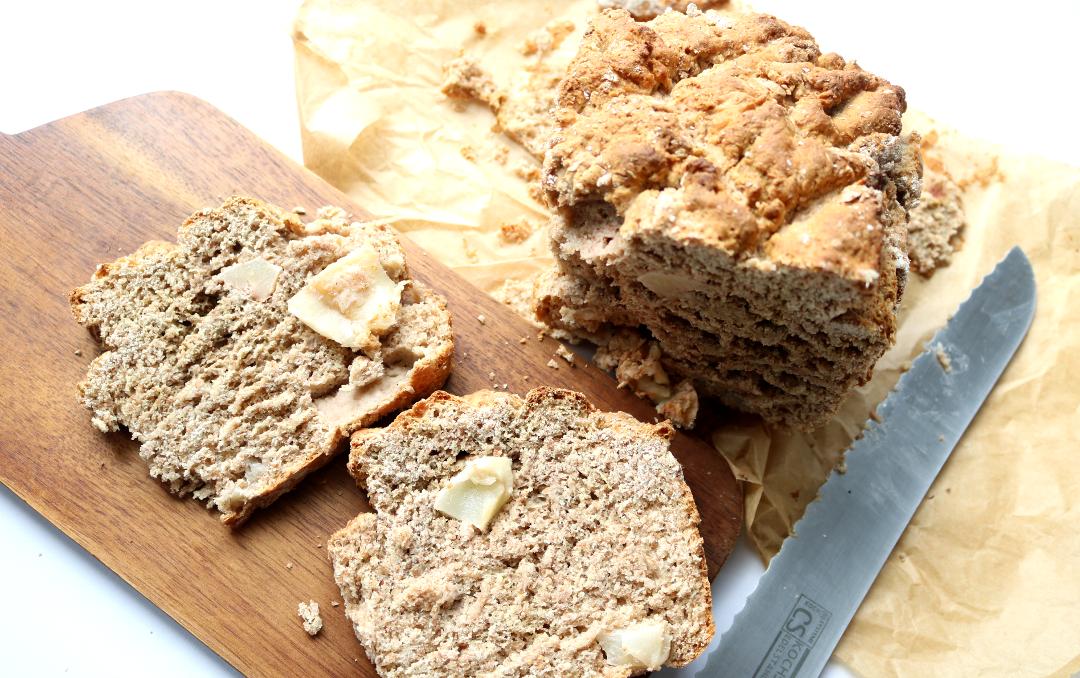 Chunky Apple & Spelt Soda Bread (Vegan recipe)