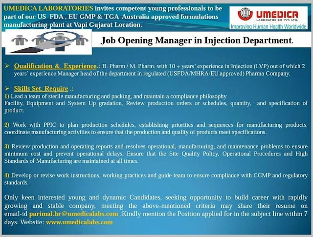 Job Opening at UMEDICA LABORATORIES Apply Now