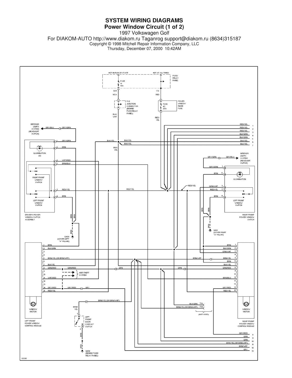 1997 Volkswagen Gti Power Window Circuit System Wiring Diagrams