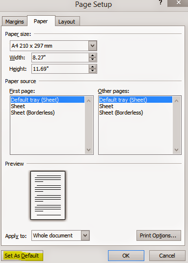 MS Word 2010 Page Setup Dialogue Box