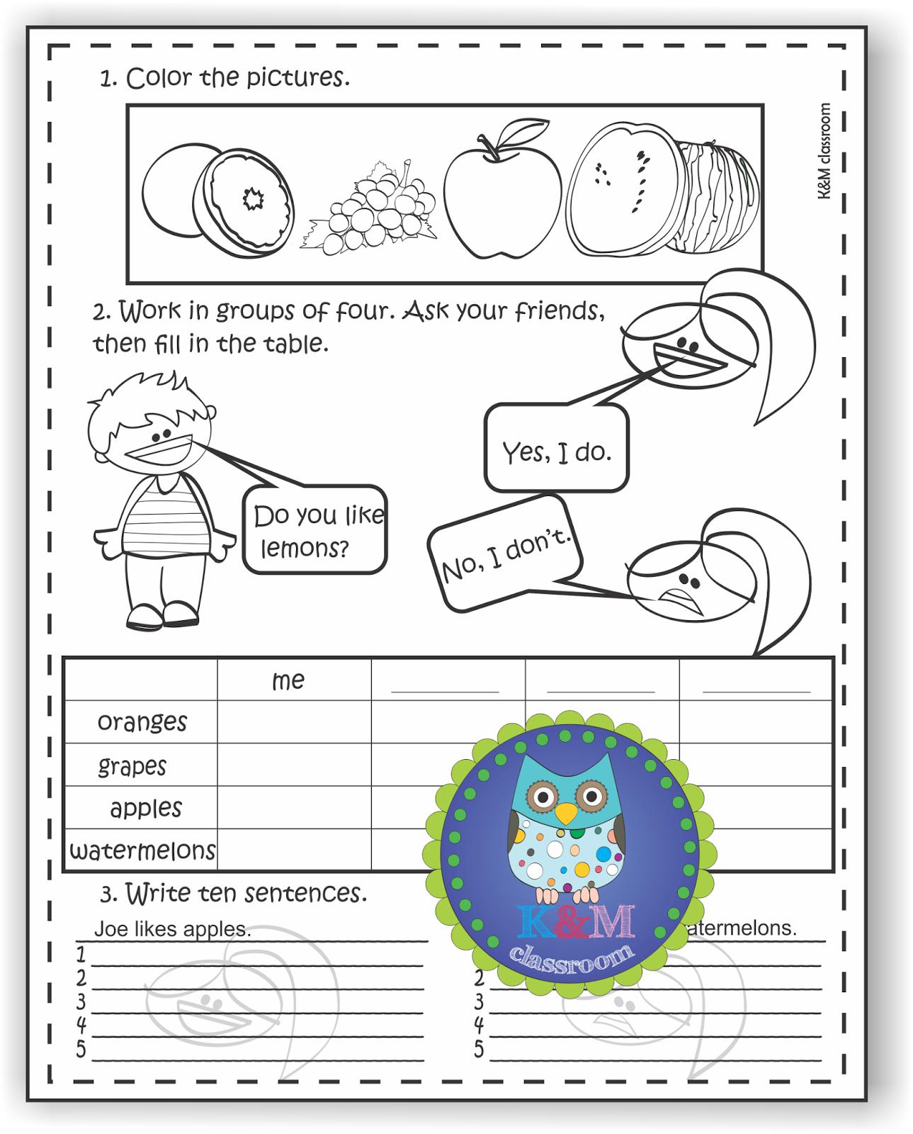 Coloring grammar worksheets - Esl Grammar I Like I Don T Like Fruits Printable Worksheets