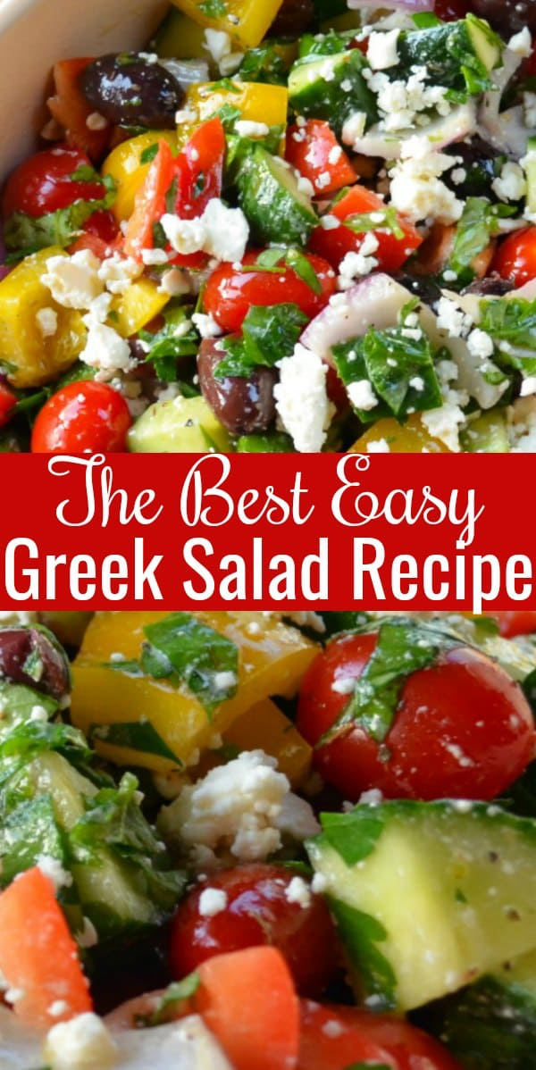 The Best Easy Greek Salad Recipe is a favorite side dish for picnics, potlucks, and barbecues from Serena Bakes Simply From Scratch.