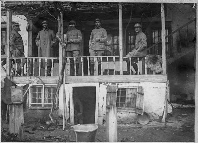 In the streets of Monastir (Bitola) (February 1917). Colonel Didier, acting as brigadier-general and his staff at his Q.G. in Monastir