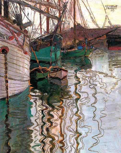 Egon Schiele 1907, water reflection