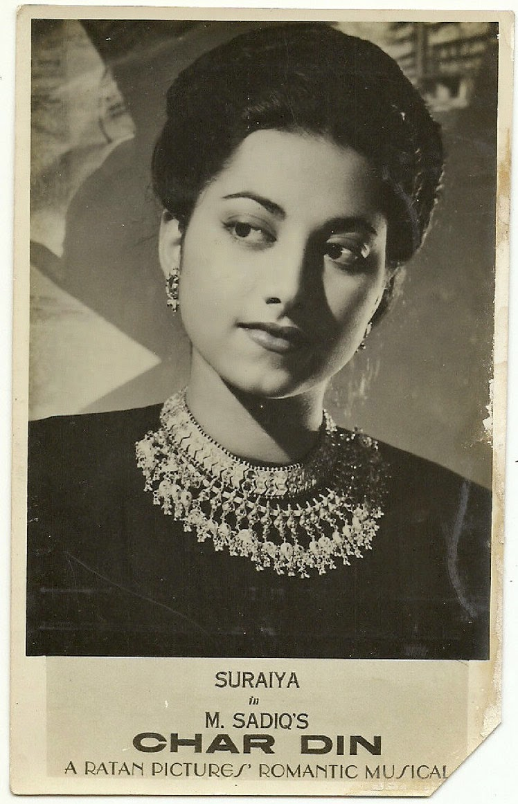 Indian Actress Suraiya in the Movie Char Din  - 1949