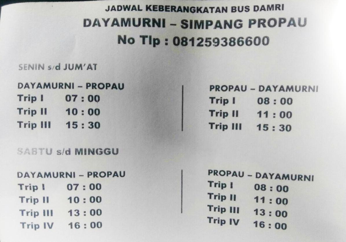 Jadwal Keberangkatan Bus Damri Dayamurni Simpang Propau