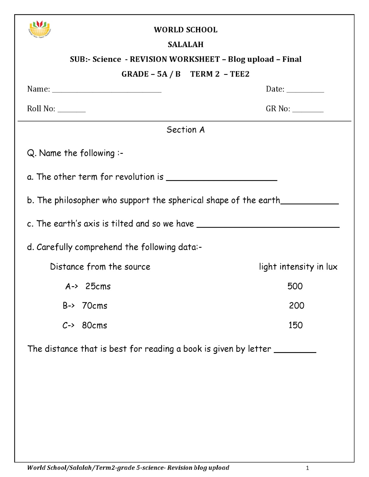 Birla World School Oman Revision Worksheets For Grade 5