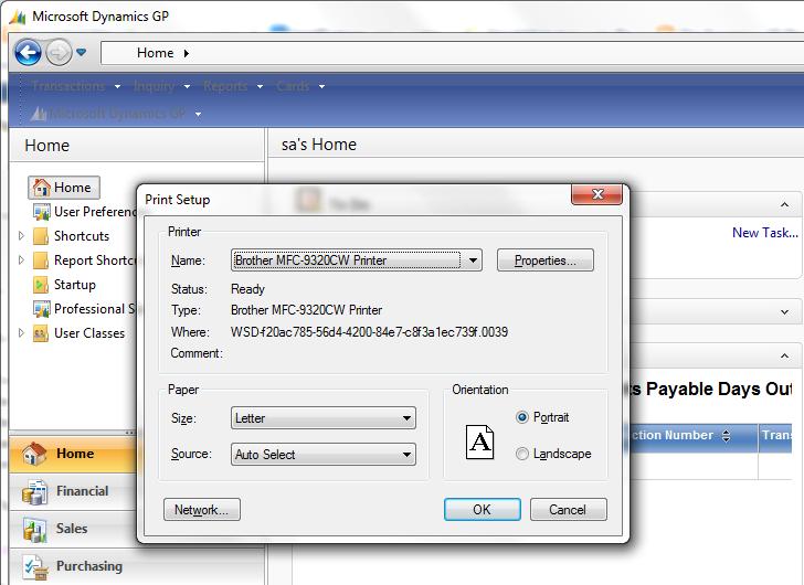 The Dynamics GP Blogster: Default Printer not 'sticking