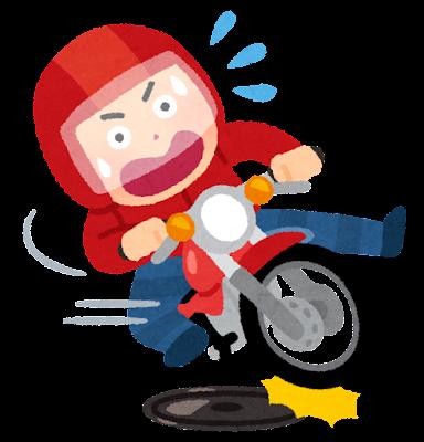 マンホールで滑るバイクのイラスト
