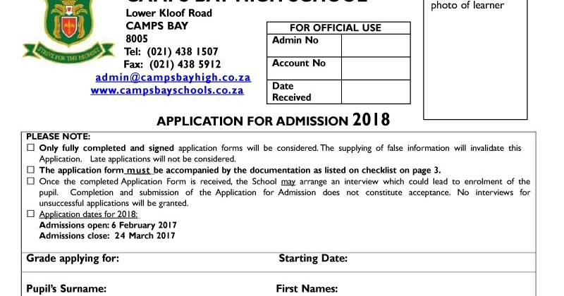 camps bay high school cbhs applications for 2018 6 feb 18