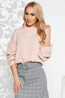Pulover rosa casual scurt din material tricotat