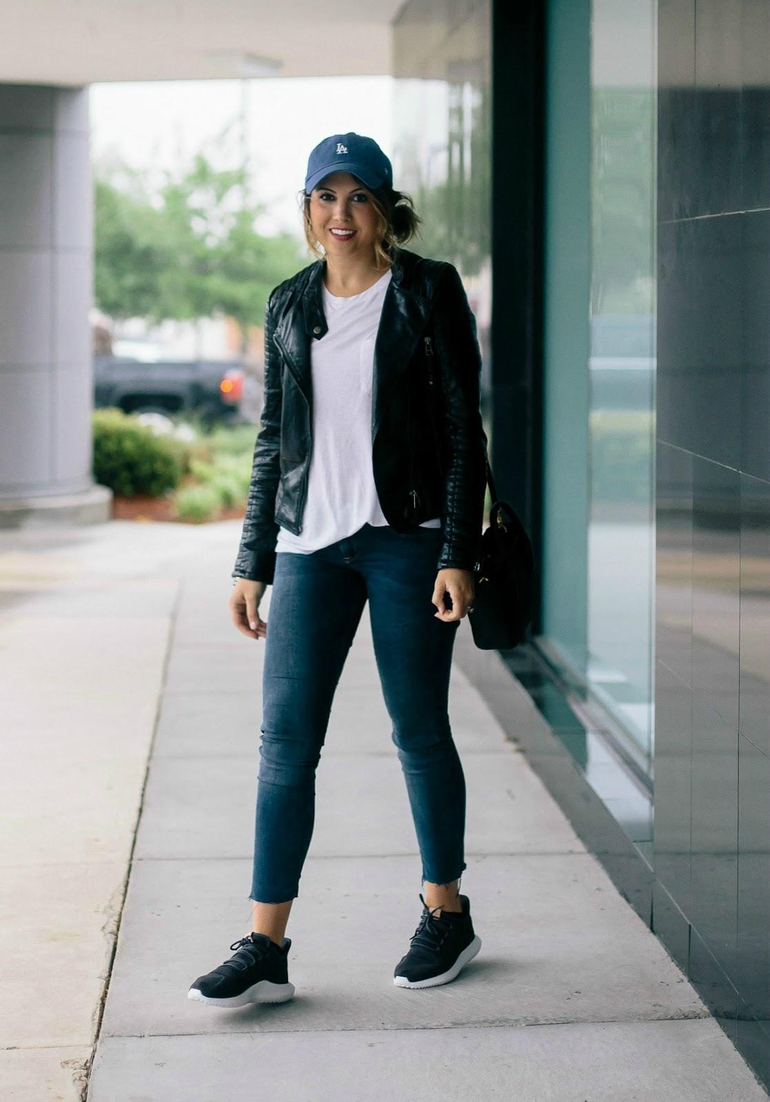 adidas tubular, athleisure, quilted leather jacket