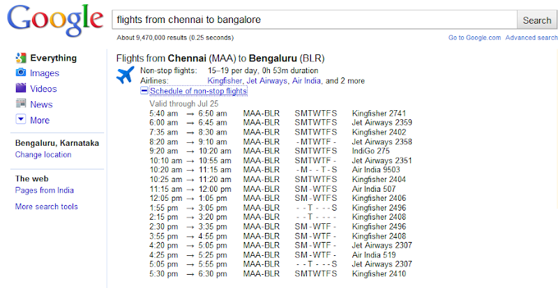 Search Flight Schedules on Google Search Engine