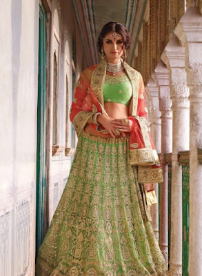 green-latest-designer-bridal-lengha-choli-in-net