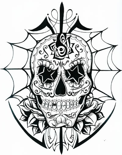 mexican sugar skull coloring pages - photo#36