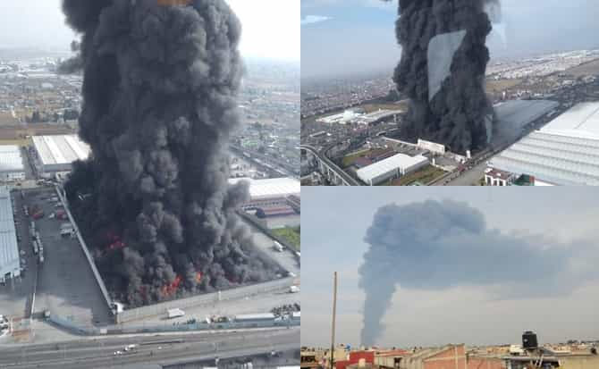 Columna humo, fuego, bomberos,