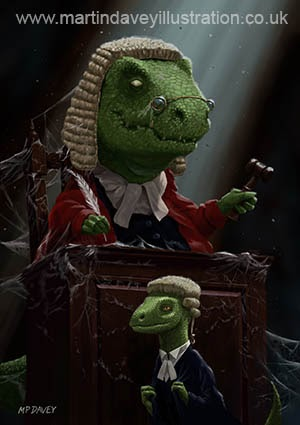 Dinosaur Judge in UK Court of Law digital painting