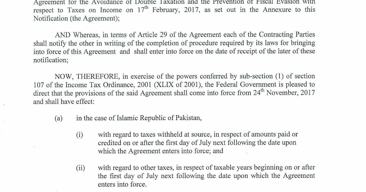 Sro 08 12018 Fbr Issues Notification To The Agreement