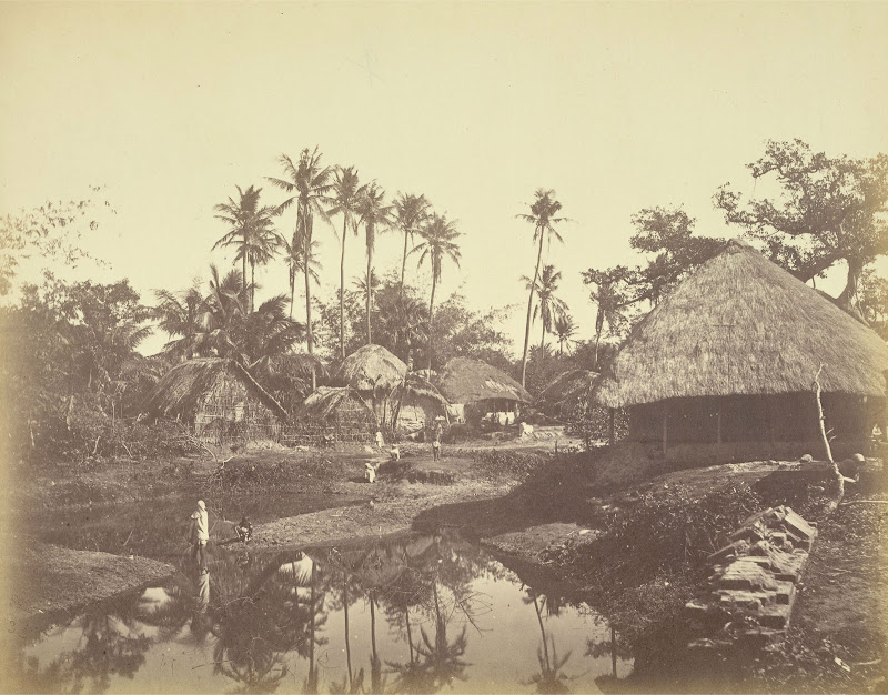 Village scene around a pond in Rural Bengal - 1865