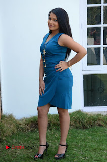 Telugu Actress Kulakarni Mamatha Stills in Blue Short Dress at Idea movie Creations Launch  0187.JPG