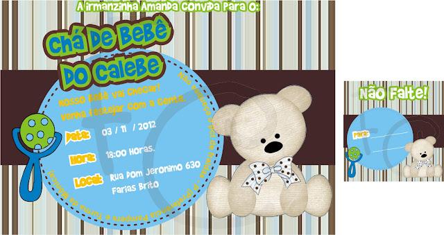 Convite e Tag Urso Azul e Marrom