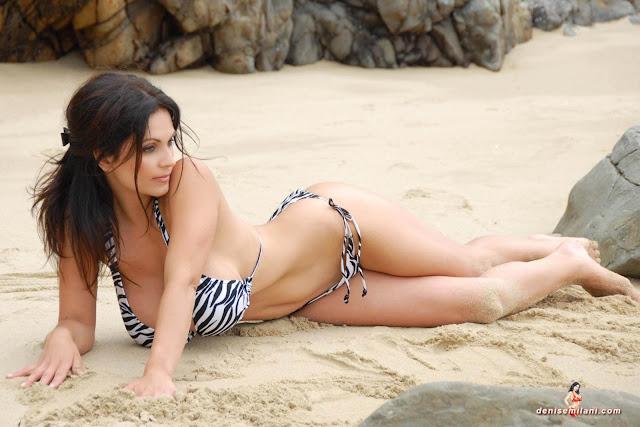 Denise Milani Beach Zebra HD Sexy Photoshoot Hot Photo 10