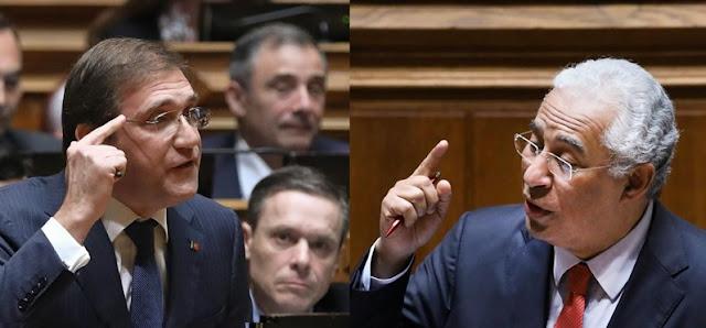 primeiro-ministro, António Costa, e o líder da oposição, Passos Coelho