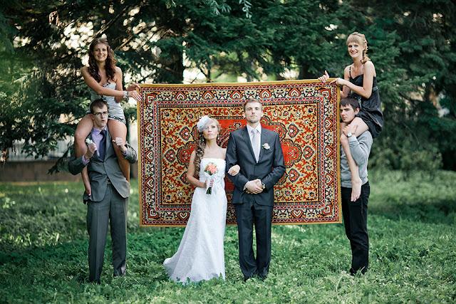 Russian wedding photo against carpet, meme