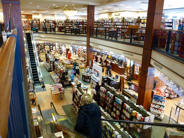 book store interior with escalator