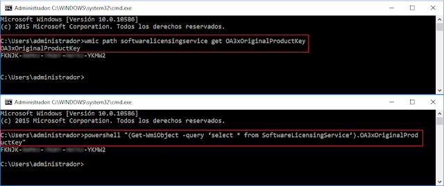 wmic path softwarelicensingservice get OA3xOriginalProductKey