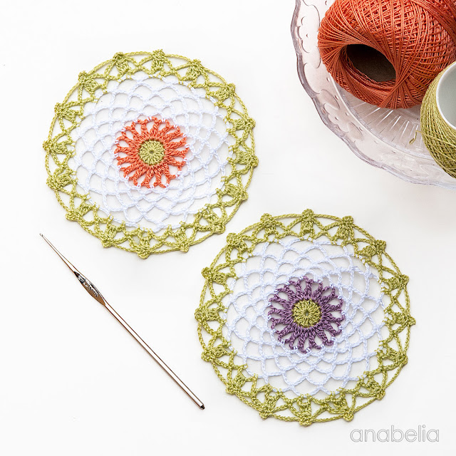 Mini crochet doilies free pattern, Anabelia Craft Design